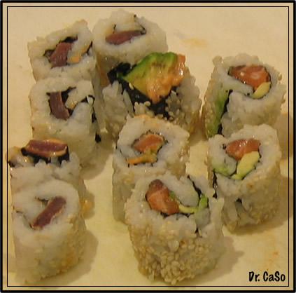 salmon-avocado and spicy tuna rolls