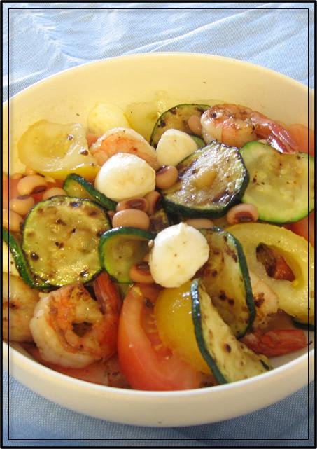 salade de haricots blancs et courgette grillée