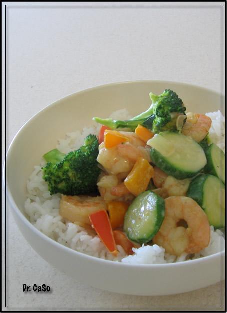 curry vert aux crevettes