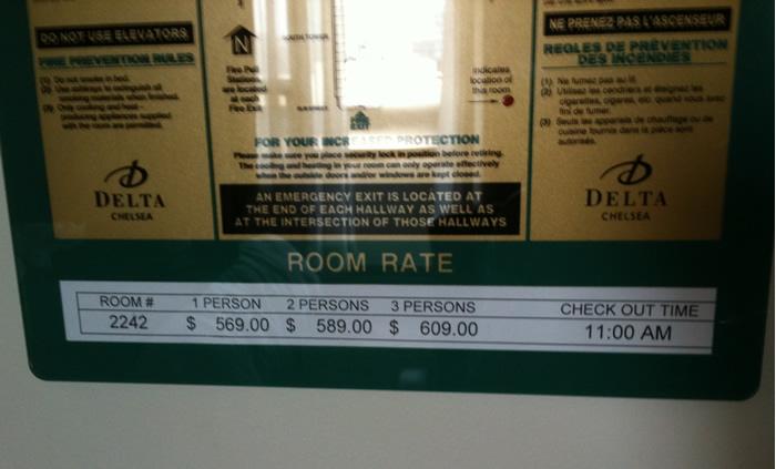 chambre d'hôtel... heureusement un peu moins chère que ça!