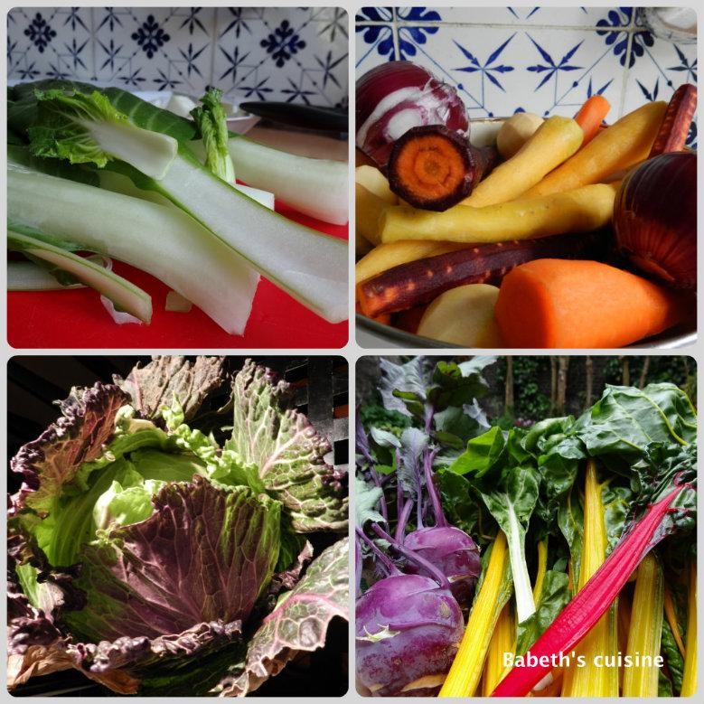 légumes colorés pour un bouquet réduits